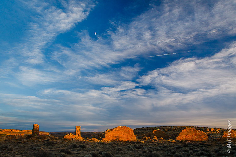 Penyasco Blanco and the sky, at sunset in Chaco Canyon, New Mexico.