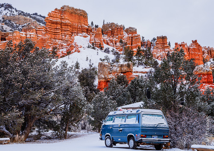 The year's first snowfall and a cold morning turns the road trip to one where staying in the sleeping bag seems like a great idea.