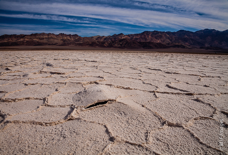 The extensive salt flats near Badwater in Death Valley National Park, California.