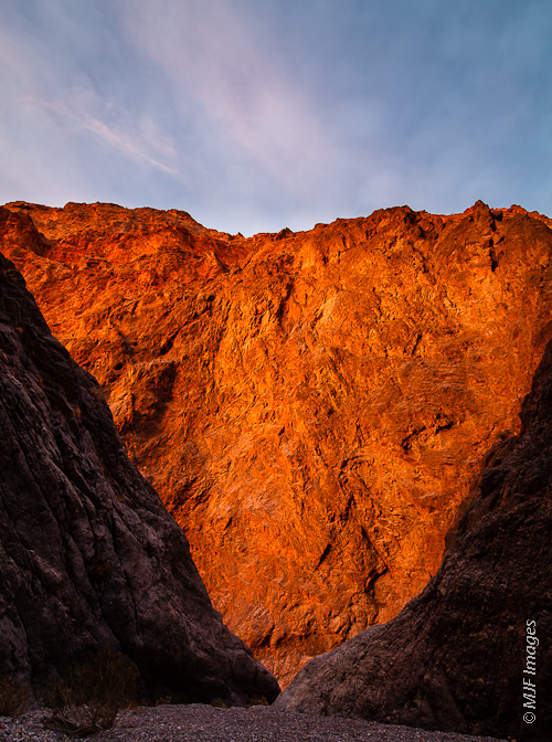 One of Death Valley's many canyon hikes, Redwall Canyon, basks in the late-day sun.