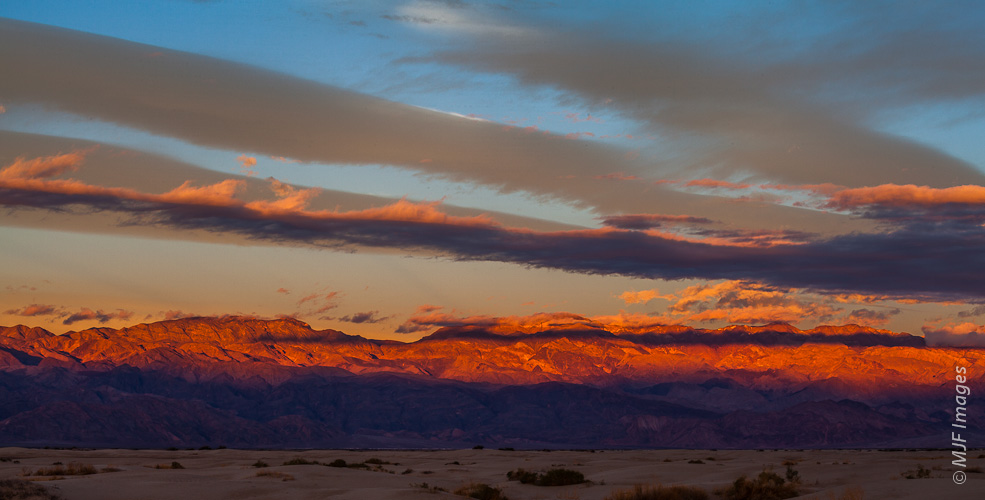The morning sun hits the Panamint Range, as viewed from Death Valley.