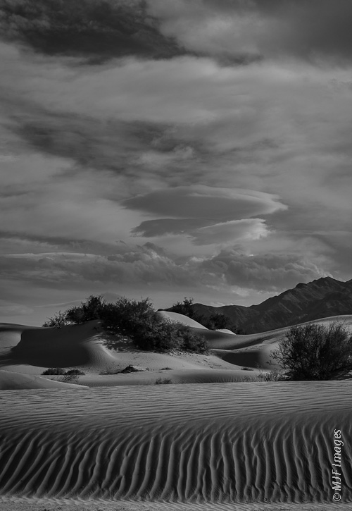 Mesquite Flat in Death Valley National Park, California, offers great opportunity to photograph landscapes in black and white.