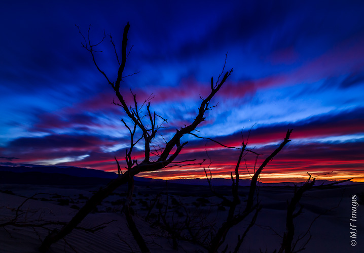 The pre-dawn hours in Death Valley's sand dunes promises a beautiful sunrise.