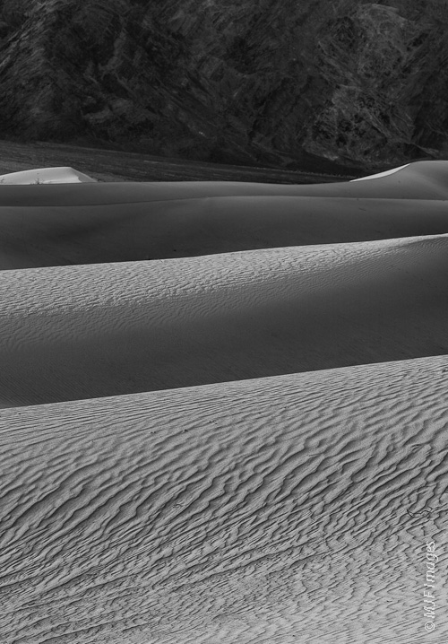 A black and white rendition of the simple beauty of Death Valley's sand dunes.