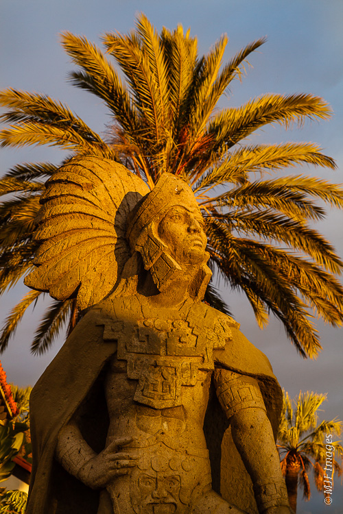 This statue of a native warrior in Ensenada, Mexico has one heck of a headdress.