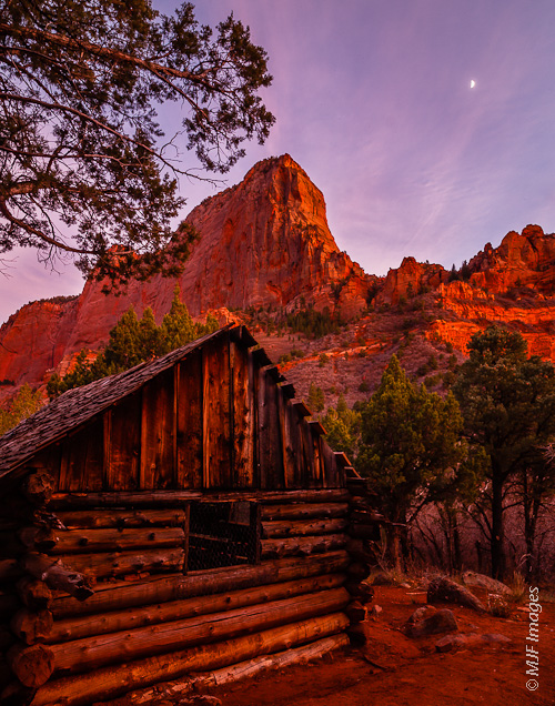 In the Kolob Canyons of Zion National Park stands an old log cabin.