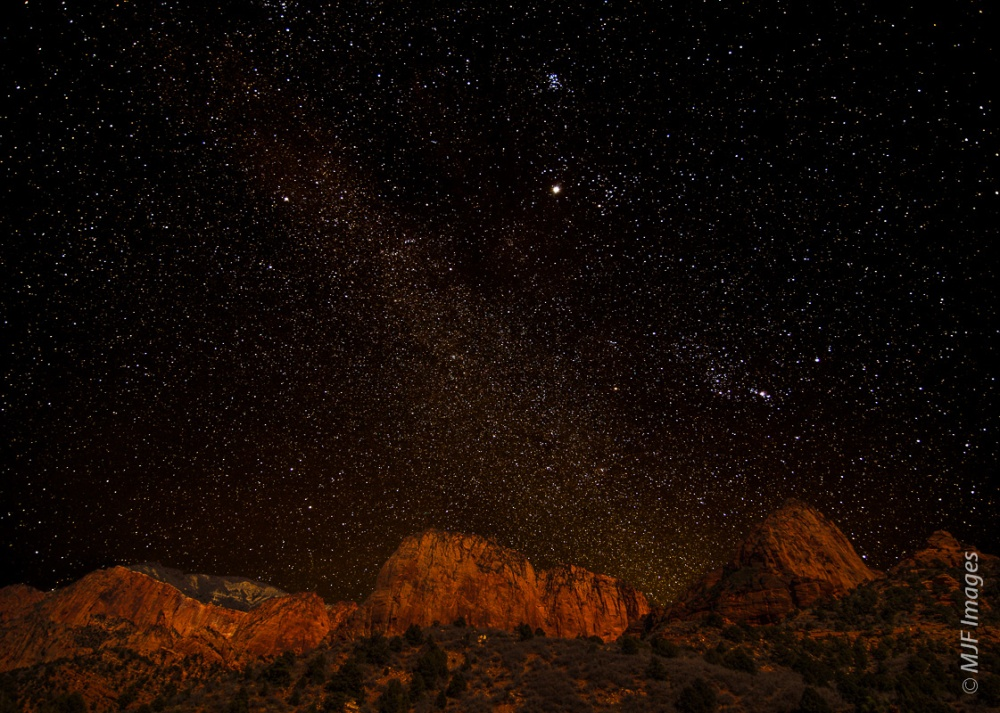 Kolob Canyons, a part of Zion National Park in Utah, is well away from any city lights.   Here it shows off a glorious star-studded sky on a clear winter's evening.