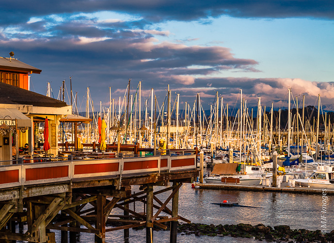 View of Monterey, California's harbor from its famous Fisherman's Wharf.