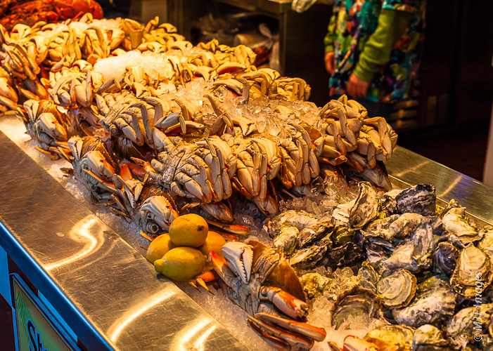 Crabs, oysters and lobster fresh from the sea are offered up on Monterey's Fisherman's Wharf.
