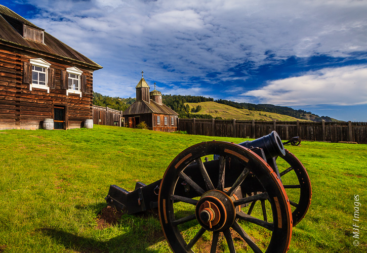 Fort Ross, the only evidence of Russian occupation of North America in the early 1800s, is located on the northern California Coast.