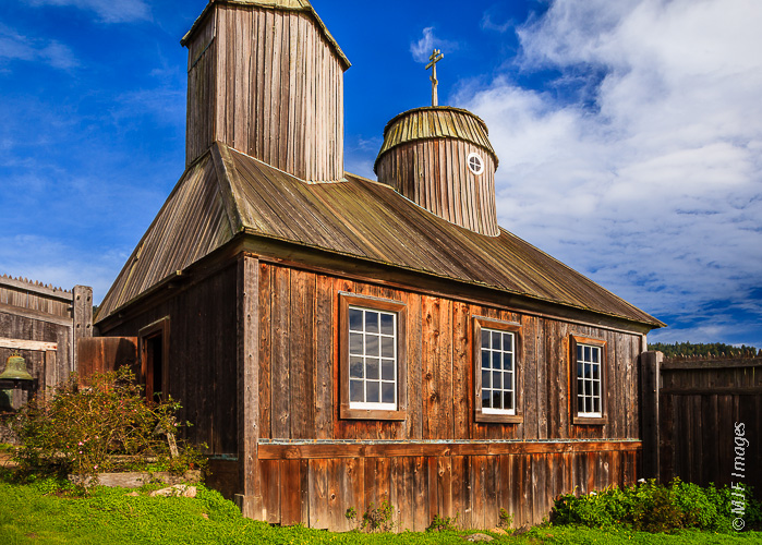This wooden chapel at Fort Ross State Historic Park in California is a rebuilt version of the original.