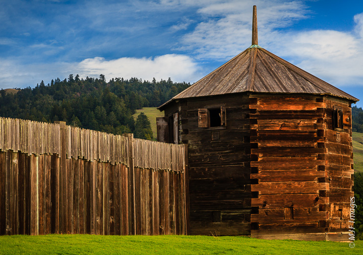 One of the corner blockhouses at Fort Ross State Historic Park, California.  These were built as a position from which to make a last defense in the event that the attackers got in through the gates.