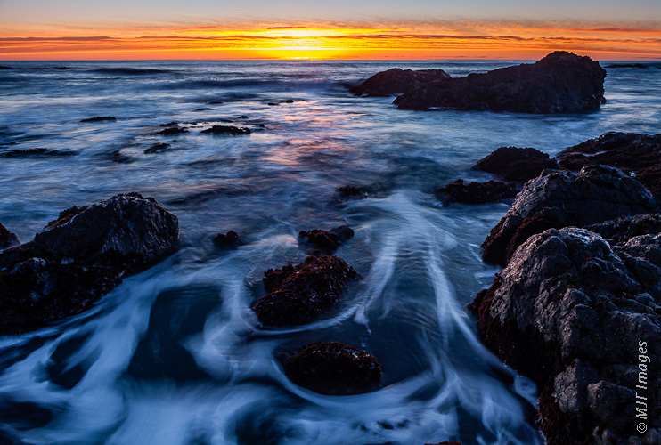 The Lost Coast of northern California is the scene of a peaceful winter's sunset.