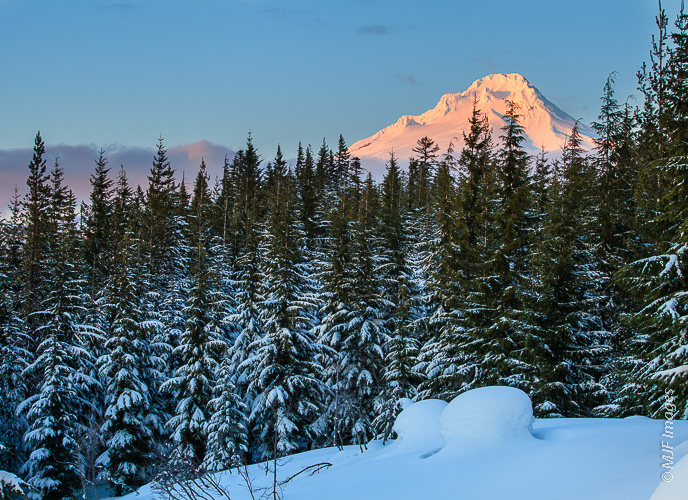 Mount Hood, Oregon glows as the sun sets in mid-winter.