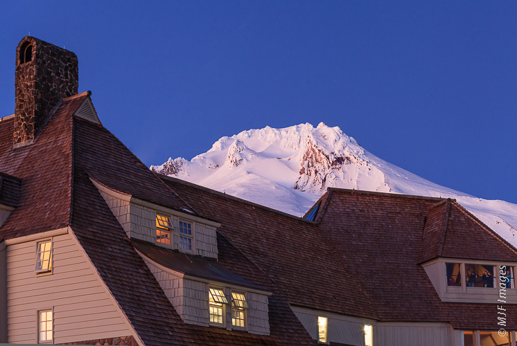 Timberline Lodge and Mount Hood at blue hour.