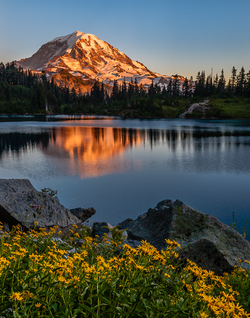 Mount Rainier in Washington rises above Eunice Lake.