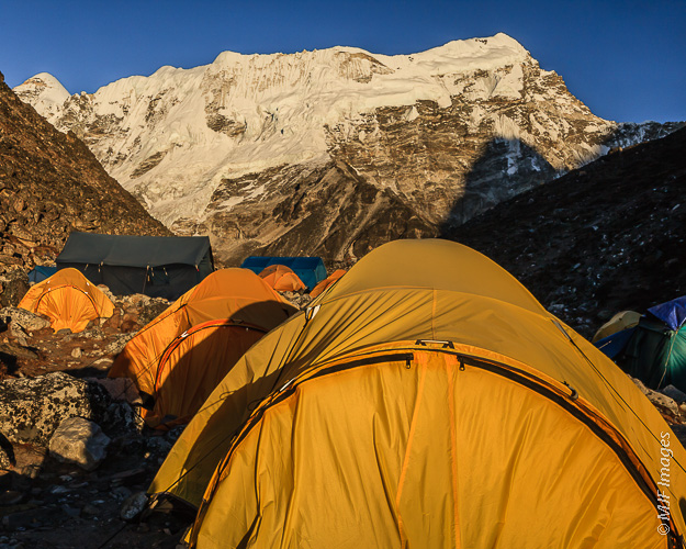 The evening light is beautiful at base camp on the evening before climbing Island Peak in the Everest region of Nepal.