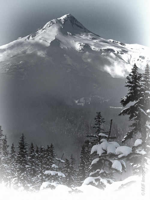 Mount Hood, near home in Oregon, is decked out in winter white.