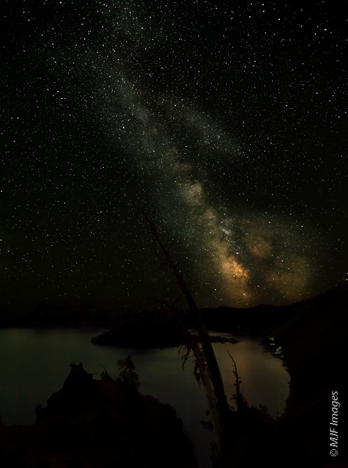 The Milky Way soars over Crater Lake, Oregon.