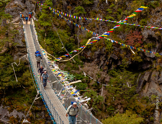 One of the main footbridges spanning a deep gorge on the way to Namche Bazaar in the Everest region of Nepal.