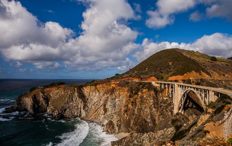 The California Coast is the attraction to driving Highway 1, the Pacific Coastal Highway.  The Bixby Bridge is near Big Sur.