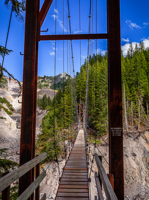 Mount Rainier's Wonderland Trail crosses a high suspension bridge over Tacoma Creek.