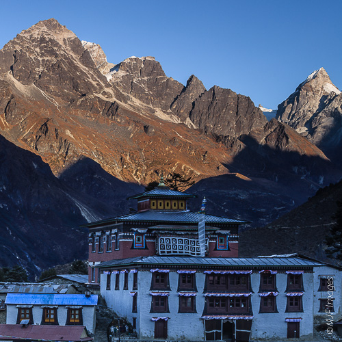 Tangboche, a buddhist monastery in the Himalaya, is a magical place to be at dawn when the deep bell calling monks to prayer echoes off the peaks.