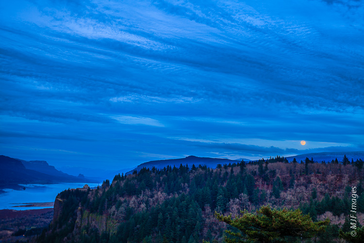 "An example of a ""blue-hour"" shot of the iconic Crown Point over the Columbia River Gorge in Oregon."