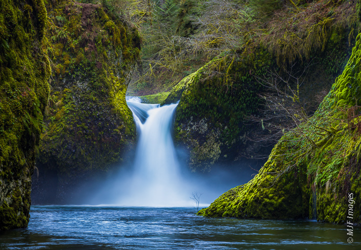 Punchbowl Falls on Eagle Creek in Oregon lies in a classic lush alcove.