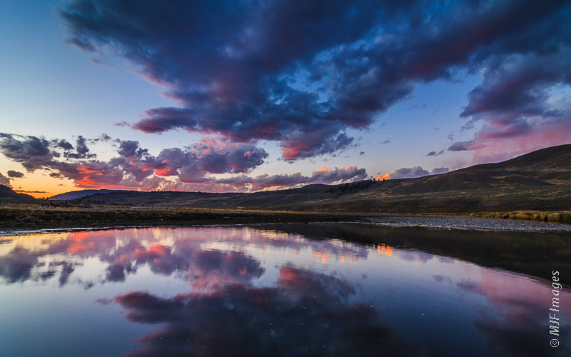 The Lamar River Valley in Yellowstone National Park is a peaceful place at dusk.
