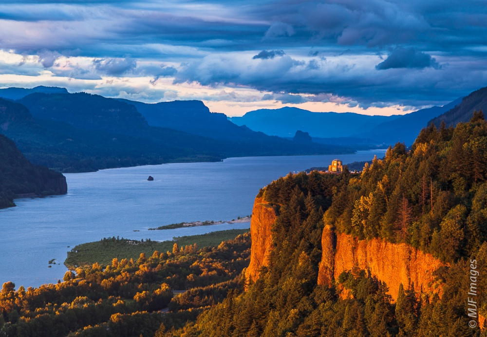 Not a waterfall, but I needed a sunset shot to end this.  Crown Point and the Columbia River Gorge