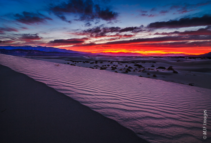 A beautiful sunrise begins at Death Valley National Park, California.