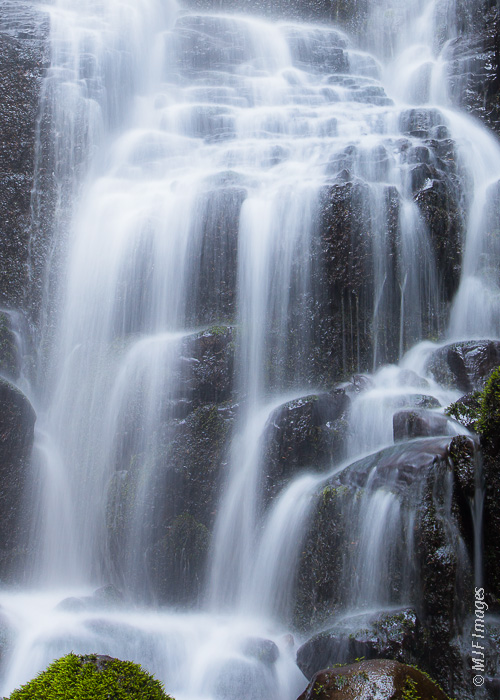 A small but beautiful waterfall called Faery Falls in Oregon's Columbia River Gorge.