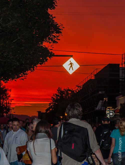 Sunset is not just for landscapes: Portland, Oregon's street fair known as First Thursday.