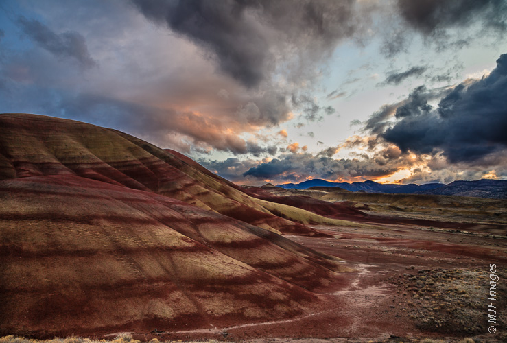 The Painted Hills in central Oregon takes on deep hues at dusk.