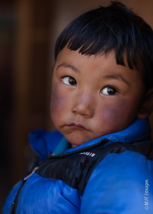 I'm drawn to children and their open-book faces: young Sherpa boy in a remote area of the Himalaya of Nepal.