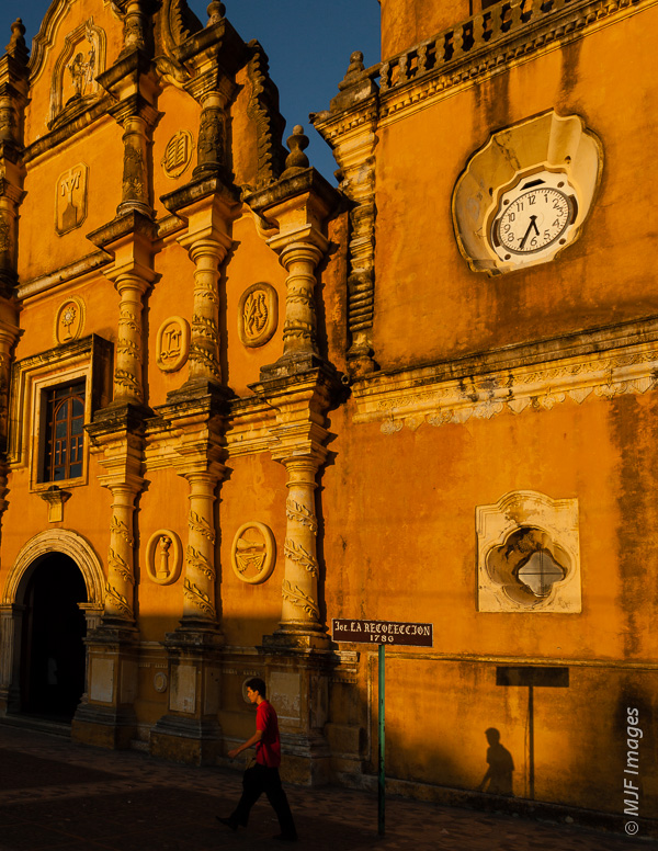 While you may not want your own shadow in the photo every time, the occasional interesting shadow adds to a front-lit sunset scene, as here in Leon, Nicaragua at the church La Recoleccion.