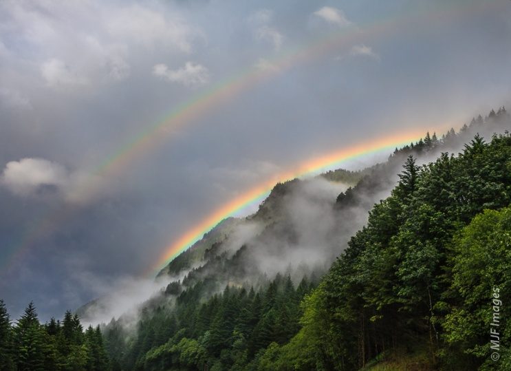 A double rainbow appears as a spring storm clears over the lush Columbia River Gorge in Oregon.