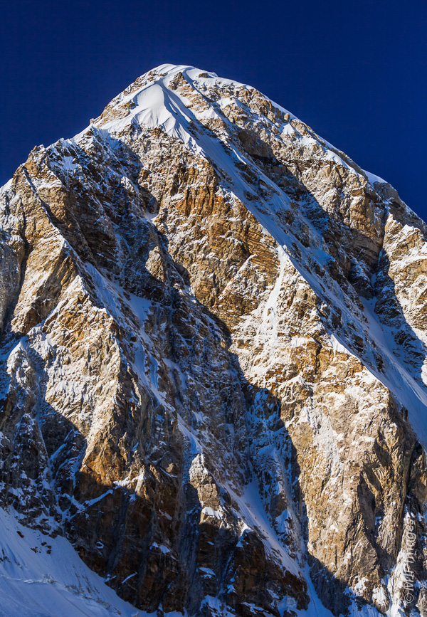 The 7165-meter high mountain of Pumori on the Nepal - Tibet border is a classic climber's peak.