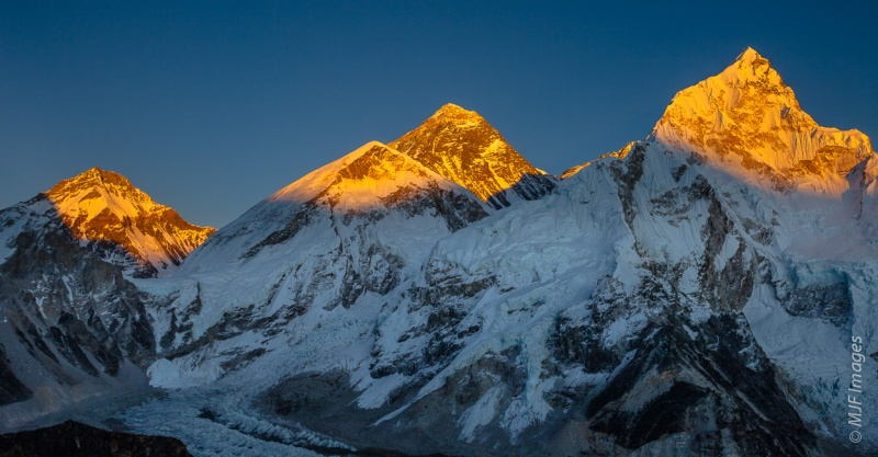 Everest (center) stands tall between its almost as enormous neighbors.