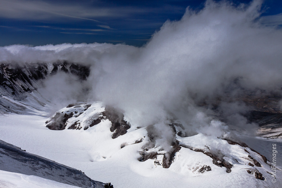 The view of Mount St. Helens' lava dome from the summit along the south rim of the crater.