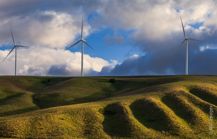 Wind turbines are situated along the crest of a ridge in the Palouse, Washington.