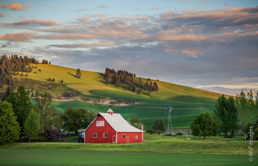 A patriotic barn in the Palouse of Washington state.