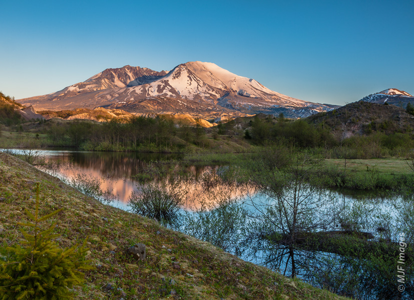 Sundown at Mount St. Helens from the beautiful Hummocks area.