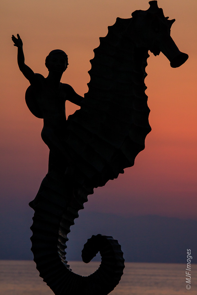 One of Puerto Vallarta, Mexico's iconic sculptures found along its beautiful malecon (waterfront walkway).