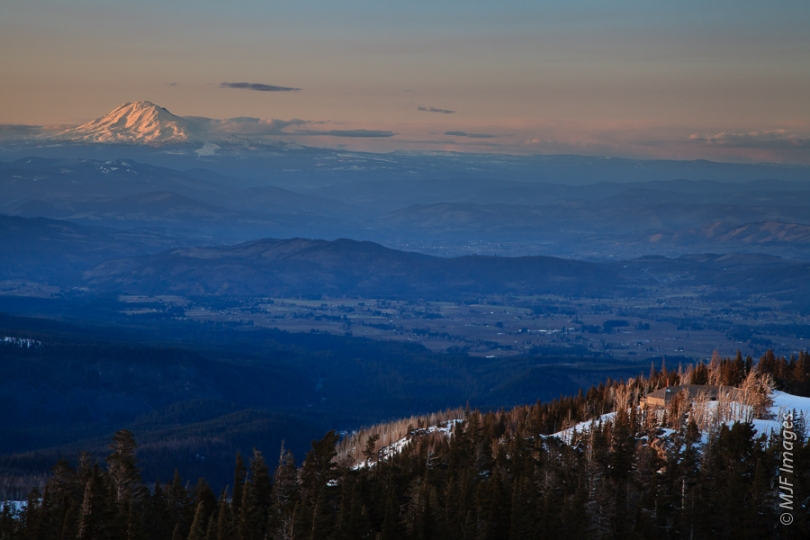 From high on Cooper Spur at Mount Hood, Oregon, the view north includes Mount Adams in Washington.
