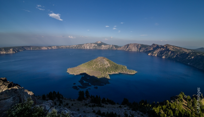 Crater Lake in Oregon fills the collapsed caldera of Mount Mazama, which blew its top about 7000 years ago.