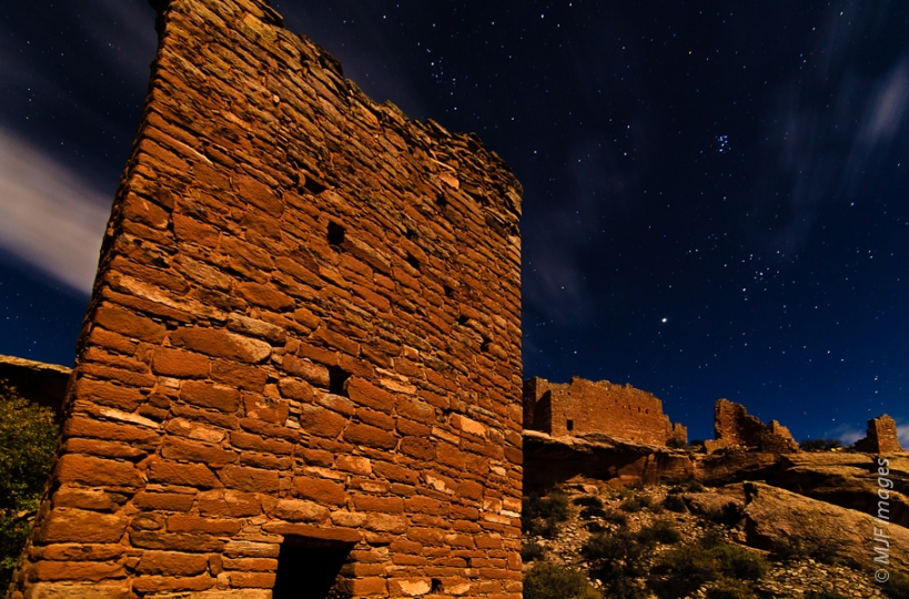 In Little Ruin Canyon the moon illuminates Square Tower, with Hovenweep Castle visible on the rim beyond.