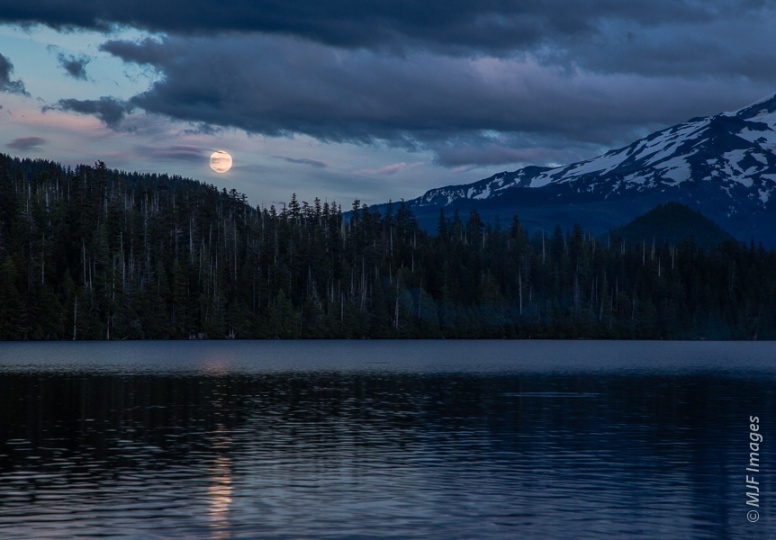 The summer solstice happened very close to the time of the full moon at perigee, here at Lost Lake.