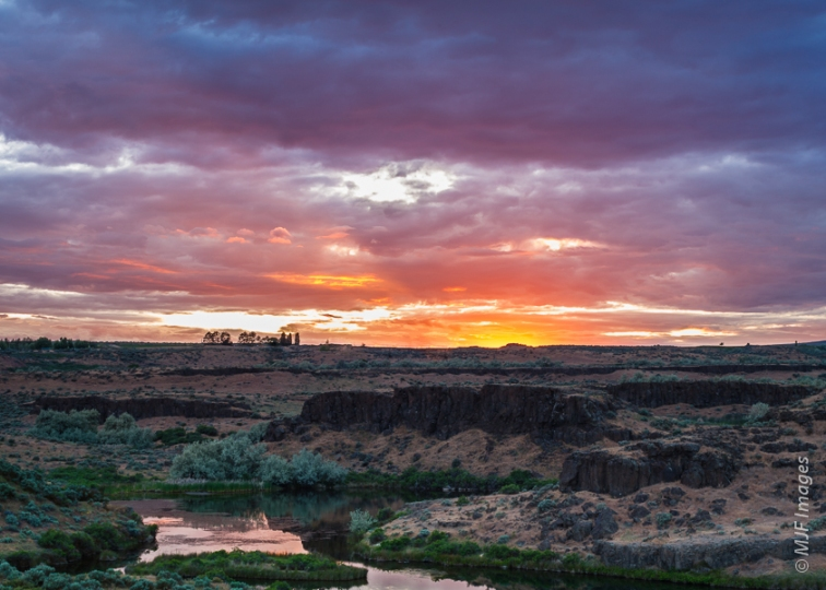 Despite the harsh name, Washington's Channeled Scablands are full of wetlands and beautiful at sunset.